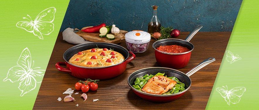 Набор посуды из 2 предметов Fivestar Legend + 2 ПОДАРКА: измельчитель и сотейник